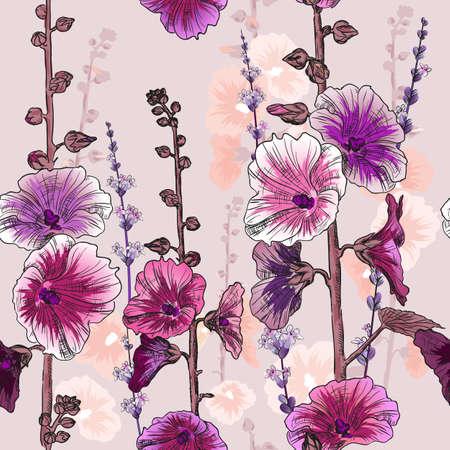 convolvulus: Seamless pattern with bindweed flowers Illustration