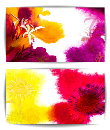 Watercolor vector banners wth flowers Vector