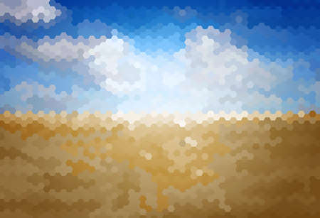 steppe: Vector Blur background with blue sky over the steppe