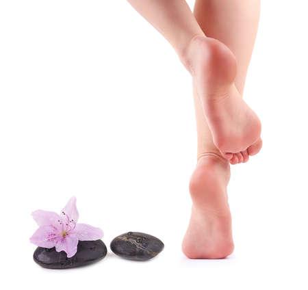 pied fille: Pieds f�minins et pierres Spa avec fleur de spa isol� sur fond blanc Banque d'images