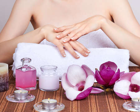 artificial flower: care for beautiful woman hands