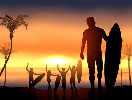 coastline: Vector surf scene with beach party Illustration