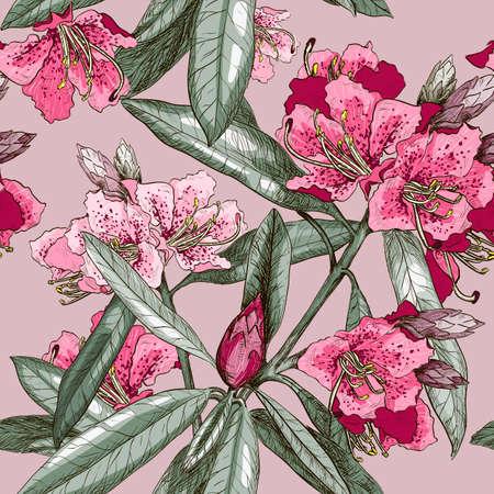 laurier rose: Vector Seamless avec Oleander fleurs