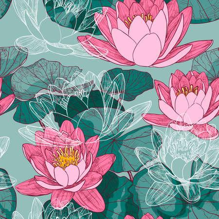 Naadloos bloemenpatroon met bloeiende waterlelies