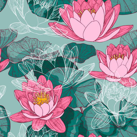 Seamless floral pattern with blooming water lilies 矢量图像
