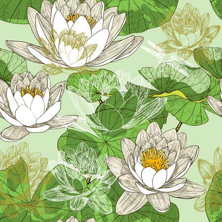 water lilies: Fondo floral sin fisuras con las que florecen los lirios de agua y lib�lulas que vuelan