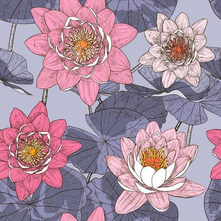water lilies: Fondo floral incons�til con nen�fares en flor