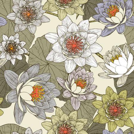 water lilies: De fondo sin fisuras con nen�fares en flor