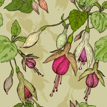 fuchsia: Seamless pattern with fuchsia flower Stock Photo