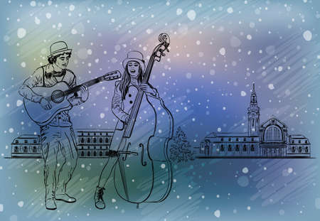 performers: Christmas street performers in a snowy city Illustration