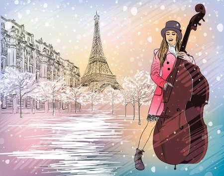 Christmas street performer in a snowy Paris