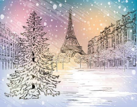 パリの冬の日  イラスト・ベクター素材