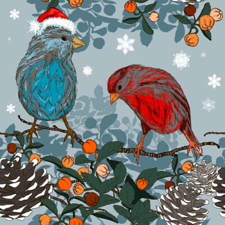 taper: Christmas seamless pattern with winter birds Illustration