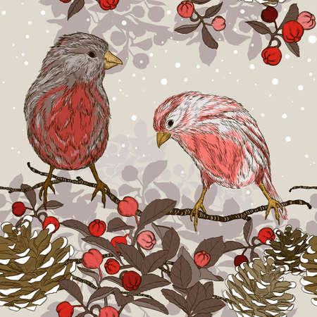 taper: seamless pattern with winter birds