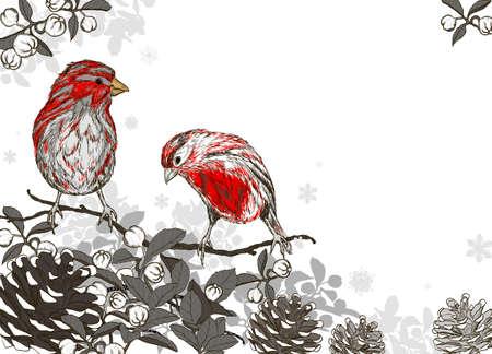 Kerstmis hand getrokken achtergrond met winter vogels