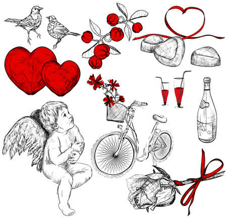st  valentine's day: Vector Collection of pictures for st. Valentines Day