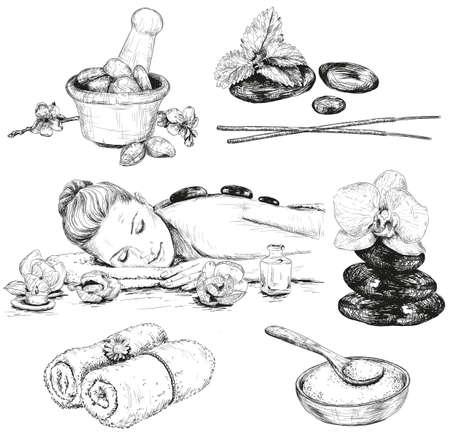 salt: Spa conjunto de dibujos, Belleza dibujado a mano ilustraciones