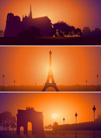 vector set: Vector Set of Paris France city skyline