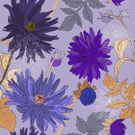 aster: seamless pattern with bouquets of Beautiful flowers of Garden asters