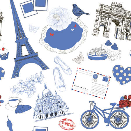 romance: Vector Seamless pattern hand drawn illustration with Paris symbols