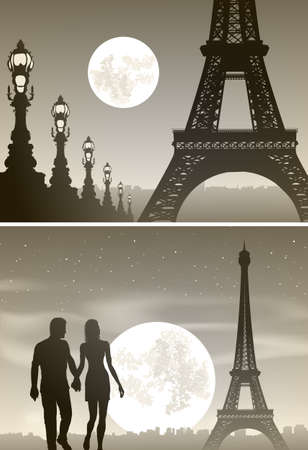 romantic couples: Vector illustration of view of night Paris and couple in love Illustration