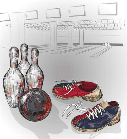 paar bowlingschoenen en bowling bal klaar om te pinnen getroffen Stock Illustratie