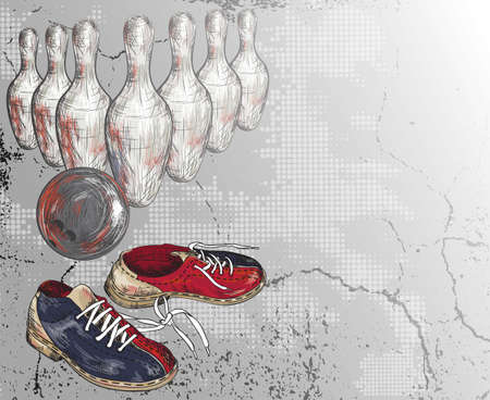 Grunge vector background of a bowling design