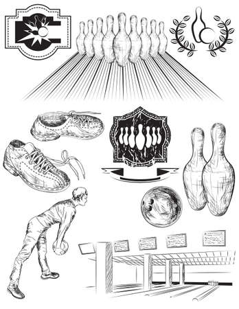 drawing pins: Set of black and white isolated bowling emblems, labels, and elements