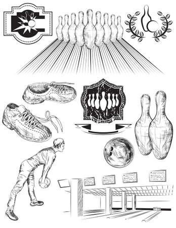 vintage: Set van zwarte en witte geïsoleerde bowling emblemen, etiketten en elementen Stock Illustratie