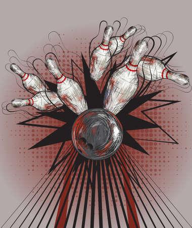 crashing: A bowling ball crashing into the pins