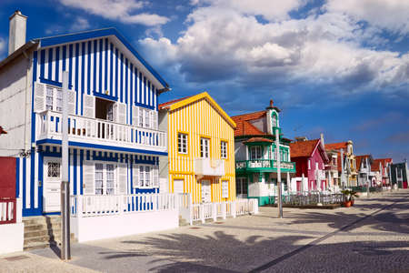 portugal: colorful houses in Costa Nova, Aveiro, Portugal