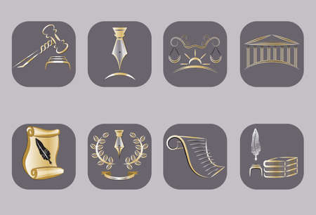 law books: Vector Law Icons Set Illustration