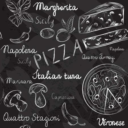 Modelo inconsútil del vector con el menú de pizza