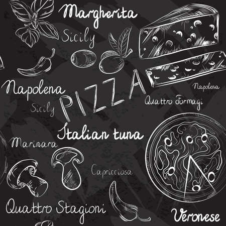bakery oven: Vector seamless pattern with Pizza menu