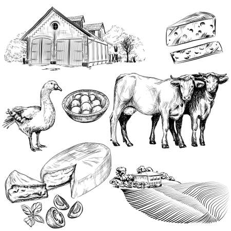 milker: hand drawn collection of farm and agriculture pictures. Illustration