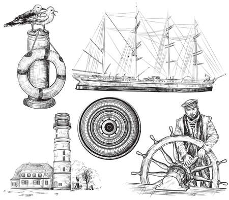 tall ship: Vector hand drawn collection of sea and nautical elements Illustration