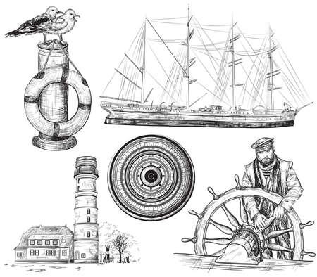 Wektor ręcznie rysowane kolekcji elementów morskich i morskich