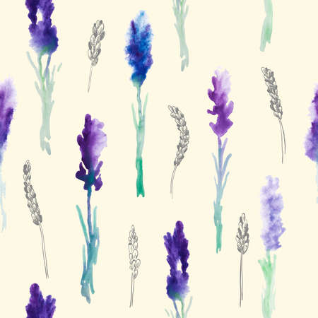 Vector Seamless pattern with Watercolor lavender flowers Çizim