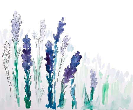 Background with hand painted watercolor vintage lavender