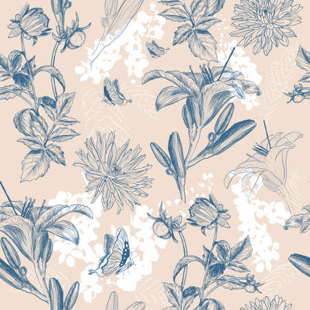 fabric art: Beautiful retro pattern with flowers Illustration
