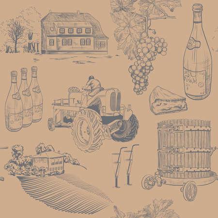 wine making: Vector illustration of Seamless retro pattern of wine making
