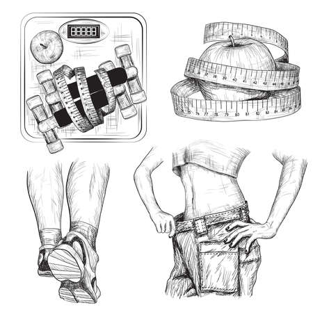 Vector set of Fitness bodybuilding and diet sport exercise sketch Illustration