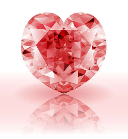 ruby gemstone: Red Diamond, heart shaped ruby gemstone on a white background with reflection
