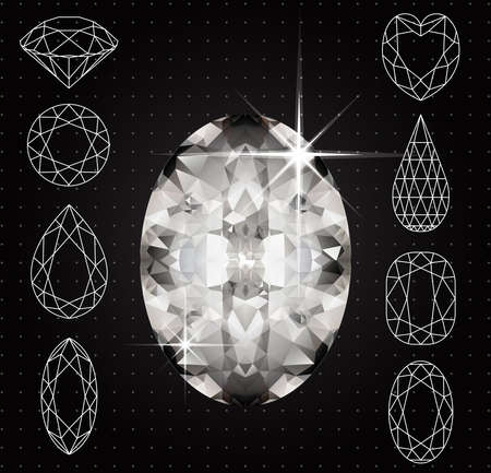 asscher cut: Vector Set of variously shaped diamonds and realistic gemstone