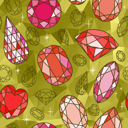 dearly: Vector seamless pattern with diamonds and golden background