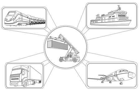 transporte: Ilustración del vector del concepto de transporte, carga de contenedores y medios de transporte