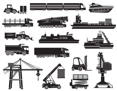 forklift truck: Vector set of Transport icons, silhouettes isolated on white background Illustration