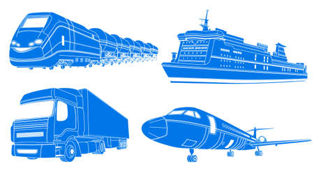 Vector illustration of Transport: airplane, train, truck, liner
