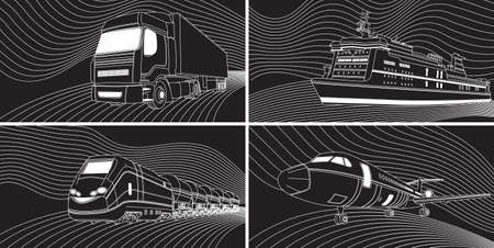 Vector illustration of Transport concept : airplane, train, truck, liner. Black and white