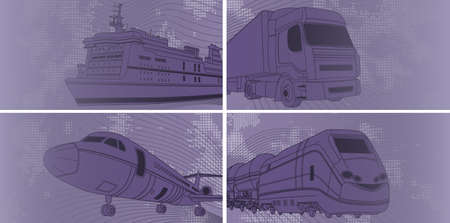 monorail: Vector illustration of Transport background with airplane, train, truck, liner Illustration